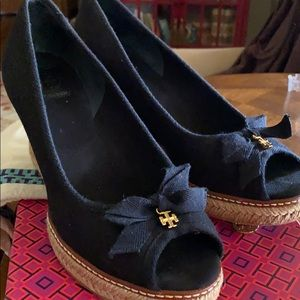 Tory Burch Black Wedge- size 8.5